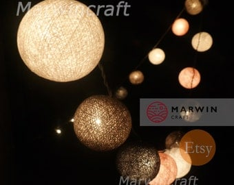 Battery Powered LED 20 Big Cotton Balls Pinkgrey Tone Fairy String Lights Party Patio Wedding  Hanging Gift Home Decor Christmas Bedroom