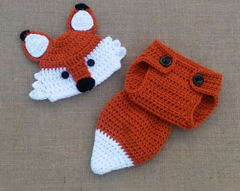 Crochet fox Hat and Diaper Cover, newborn Fox Hat, baby Fox Outfit, Newborn Photo Prop, Baby Gift