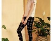 Organic cotton and bamboo leggings - arrows boho screen print