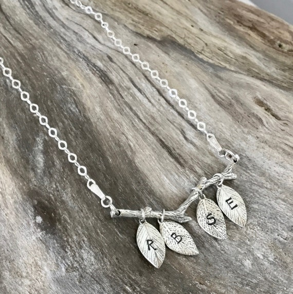 Personalized initial Jewelry - Family Tree Branch and Leaf Charms - Sterling Silver Necklace - Personalized Leaves - Hand Stamped Necklace