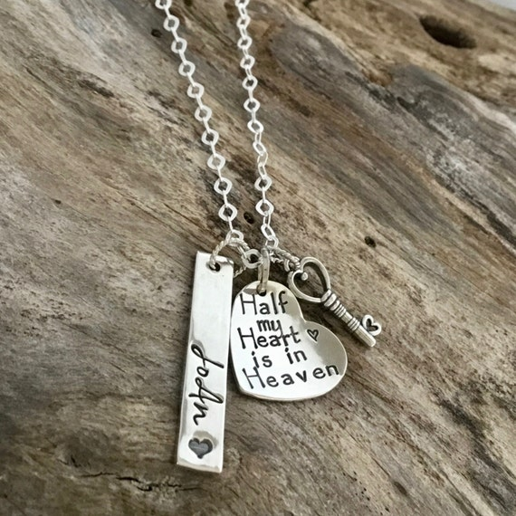 Half My Heart Is In Heaven Necklace / Memorial Jewelry / Remembrance Jewelry/Bereavement Jewelry / In Memory of Mom Dad/ Key to my Heart