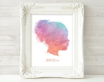 Custom Silhouette Art, Watercolor Silhouette, Child Portrait, Printable Watercolor Silhouette, Mom Wall Art, Mother's Day Gift Personalized