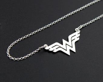 Wonder Woman necklace sterling silver Wonder Woman jewelry - super hero - gift for women - girl jewelry - best gift idea - amazing mom gift