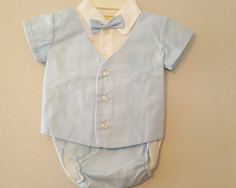 Vintage Baby Boy Blue Diaper Set with Bow Tie - Size 3-6 months - New, never worn