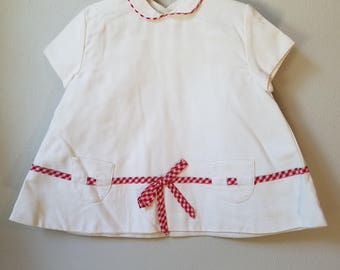 Vintage 60s Girls White Pique Dress with Red Gingham Trim and Pockets- Size 24 Months- New, never worn
