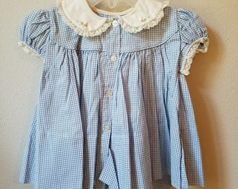 Vintage 50s Girls Blue Gingham Dress with White Peter Pan Collar- Size 12 months- New, never worn