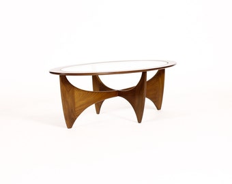 Danish Modern / Mid Century Coffee Table – Oval Biomorphic Teak Frame w/ Glass inlay – Astro Line – Kofod Larsen for G-Plan