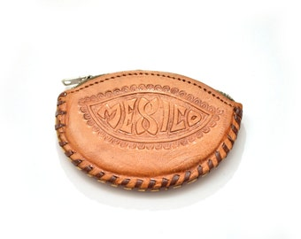 60s Leather Mexico Change Purse Tooled Flower Small
