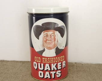 advertising tin, Quaker Oatmeal, vintage tin, kitchen storage, Quaker Oats can, vintage kitchen, retro home
