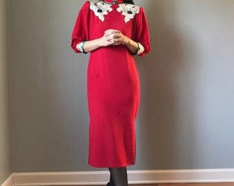 Vintage Red Chinese Good Luck Crane Dress