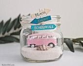 Tropical / VW Bus Van / PINK Beach Car in a Jar / Beach Decor / Mason Jar / Beach scene / summer home decor / Centerpiece / Gift for Her DIY