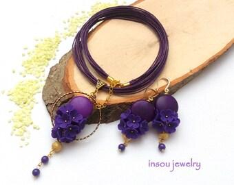 Plum Jewelry, Flower Jewelry, Necklace Earrings Set, Statement Necklace, Flower  Earrings, Jade Jewelry, Elegant Jewelry, Floral Jewelry