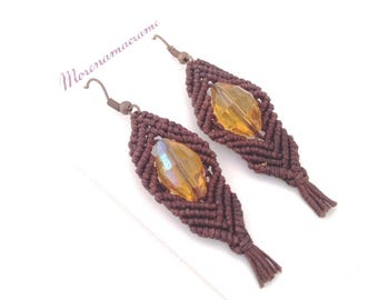 Brown ethnic earrings, boho jewelry, macrame festival trend, made in Italy, ambra beads, gift for mother's day, gift for her, waxed cotton