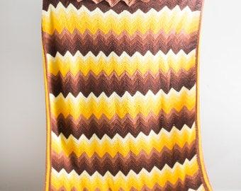 Vintage Orange Stripe Crocheted Afghan Blanket