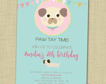 Puppy birthday party invitation printable Puppy themed birthday invite Girl birthday party Digital puppy invitation Dog party invitation