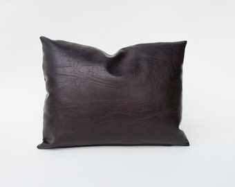 Chocolate Brown Faux Leather Decorative Pillow Cover