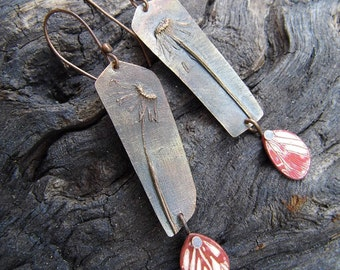 OOAK electroformed botanical earrings with etched and enameled butterfly wings (FREE SHIPPING)