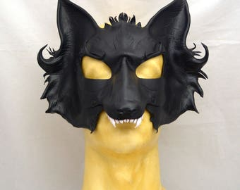 Direwolf Black Leather Cosplay Mask for Masquerades, LARP and Mischief