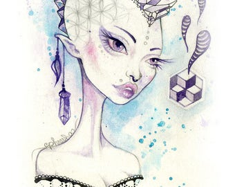 Amethyst - crystals, visionary art, watercolour print, watercolor crystals, small wall print, postcard, mini art print, trippy art, phresha