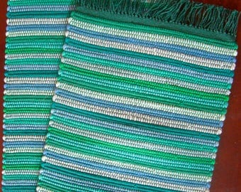 "12"" x 57"" Handwoven Nicaraguan Table Runner in White, Sea Green, and Periwinkle Blue"