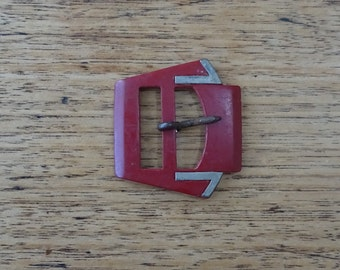 Art Deco style buckle vintage dress buckle maroon red and silver gray sewing notion craft supplies mixed media art and collage beads