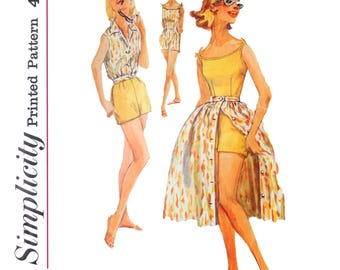 1950s Women's Playsuit Pattern - One piece playsuit Full gathered skirt Size 14 Breast 34 Simplicity 2527 - 50s Sewing Patterns Mod Mad Men