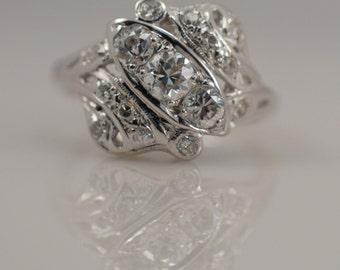 2/3 carat cttw Vintage Antique Old European Cut Diamond Engagement Ring 14k White Gold Cluster Unique Unusual