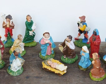 Vintage Papier Mache Nativity Set of 15 Made in Italy