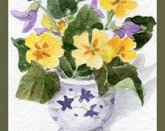 Primroses and violets Aceo, original watercolour painting, Miniature art,
