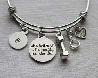 She Believed She Could So She Did Weight Loss Bracelet, Weight Loss Jewelry, Weight Loss, Weight Loss Inspiration, Inspirational Jewelry