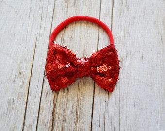 Red Sparkle bow on nylon headband, Valentines day headband, one size nylon headband, baby headband, newborn headband, red hair bow