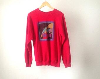 LAUREL BURCH vintage 90s wild birds color block red pastel SWEATSHIRT large oversize top