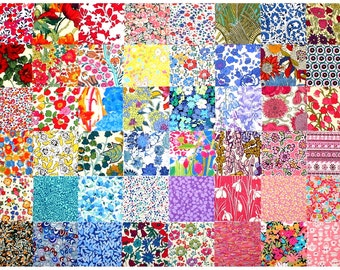 "Sale 10% off Liberty Fabric 48 Mini 2.5"" Charm Square Bundle Patchwork Quilting Medium Bright Colours Floral Patterns Cotton Tana Lawn"
