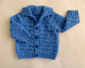 Blue baby sweater, knit boys cardigan, 6 - 12 months boy, comfortable blue knitted cardigan, hand knit babywear, baby sweater with collar