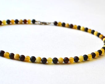 Amber Necklace, Baltic Amber Jewelry, Unisex Amber Necklace, Delicate Multicolor Amber Beads necklace