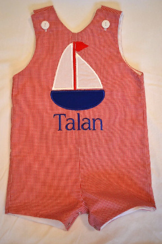 Custom made Personalized Monogrammed  Sailboat Jon Jon, Romper