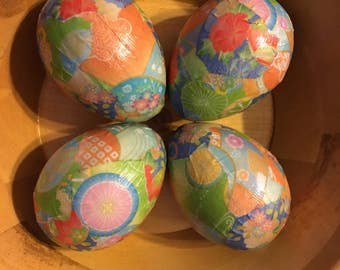 Pretty Parasols Handmade Decoupage Paper Mache Easter Eggs Origami Paper: Set of Four