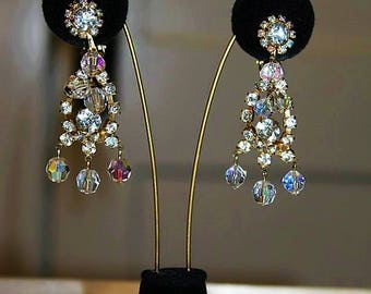 SALE! JULIANA DE Rhinestone Aurora Borealis Dazzling Designer Couture High End Earring ED17