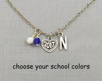 High School Graduation Gift for Her, Graduation Necklace, 2017 Senior, Class of 2017, College Graduation, Personalized Grad