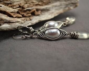 Freshwater Pearl Earrings, Pearl Earrings, Prehnite Earrings, Herringbone Wrap Oxidized Silver Earrings, Grey Pearl Long Silver Dangles
