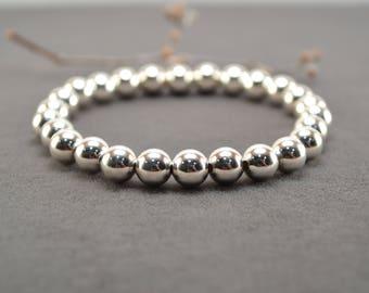 Silver Bracelet, Sterling Bracelet, Silver Bead Bracelet, Silver Beaded Bracelet, Stackable Bracelet, Stretch Bracelet, Layering Jewelry