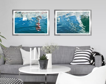 Abstract large wall art set of 2 water photography, abstract sea art, blue nautical decor, Modern large prints, bathroom wall decor, 24x36