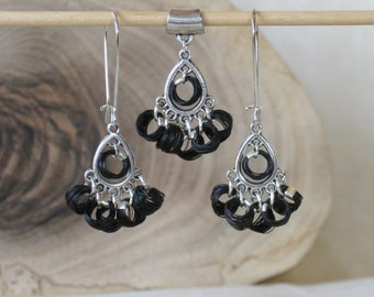 Black Horse Hair Set pierced dangle Earrings & Necklace pendant - teardrop shaped silver chandelier