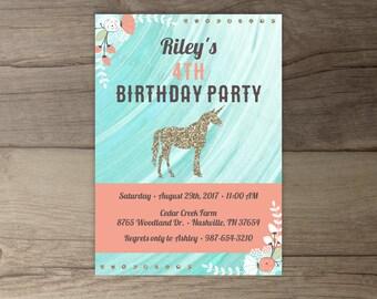 Unicorn Birthday Party Invitations •Floral Gold Glitter Invites • Pink Coral Mint Aqua • printable