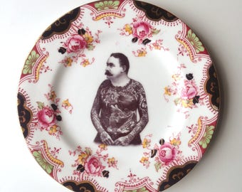 Vintage Victorian Moustache Tattooed Man Plate Altered Art