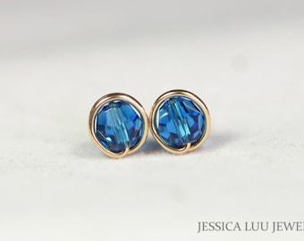 Gold Blue Swarovski Crystal Stud Earrings Wire Wrapped Jewelry Swarovski Crystal Jewelry Blue Earrings Blue Jewelry Rose Gold Earrings