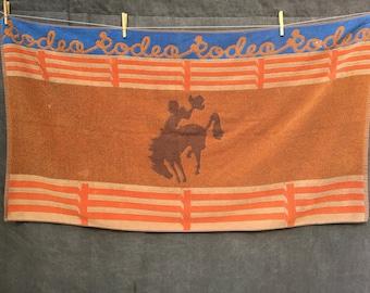 "60s 70s ""Rodeo"" Beach Towel Cowboy Bucking Bronco by Seven Seas"