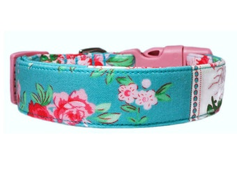 Turquoise Blue Floral Dog Collar Dog Collar w/Optional Flower Accessory