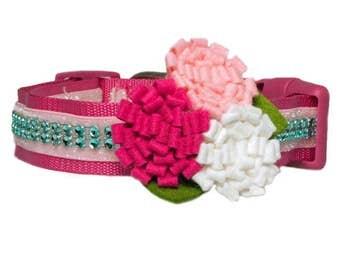 "Flower Trio Dog Collar Accessory for 5/8"", 3/4"", 1"" or 1.5"" Dog Collar"