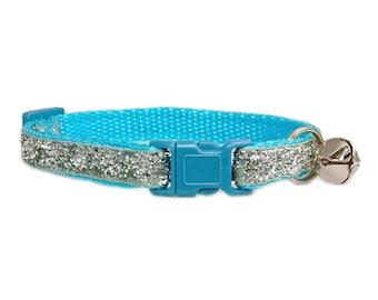 "Silver Glitter Cat Collar 3/8"" Turquoise Blue Cat Collar"